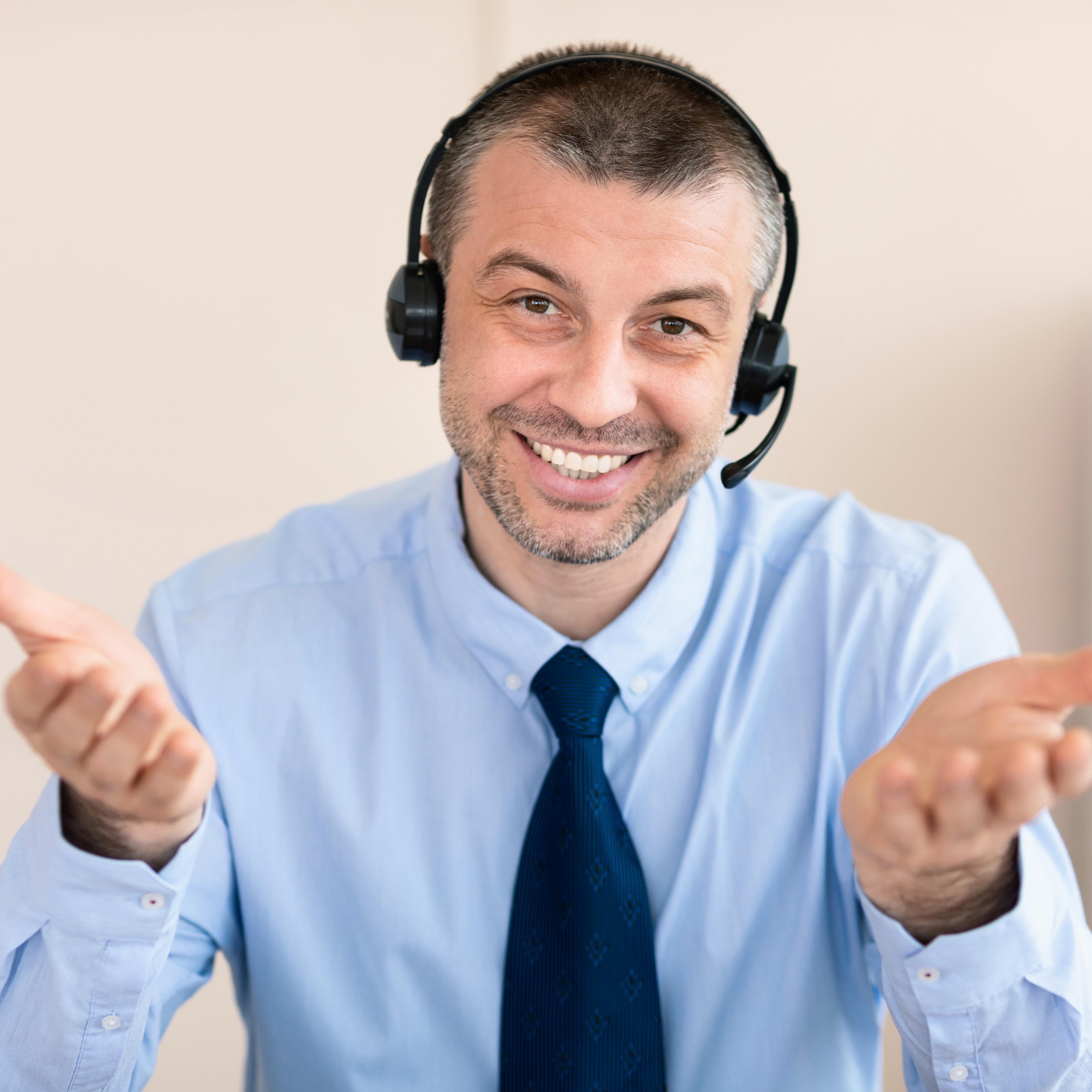A happy customer service agent.