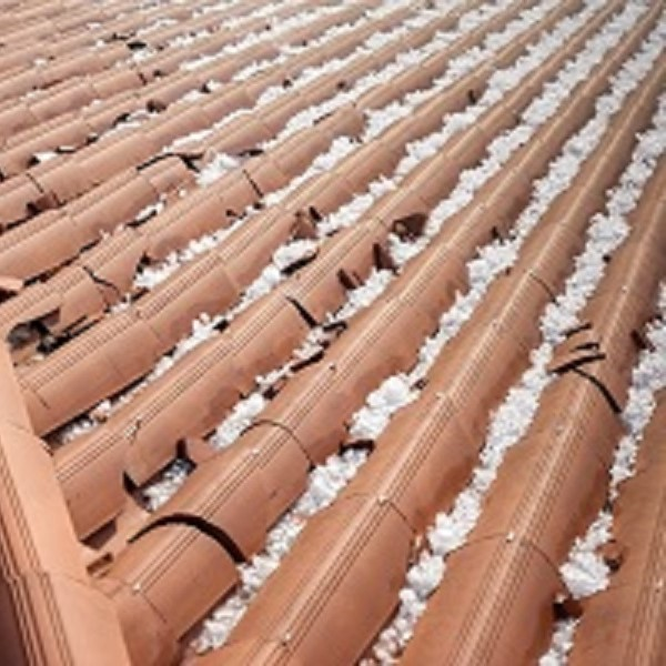 A roof full of hailstones.